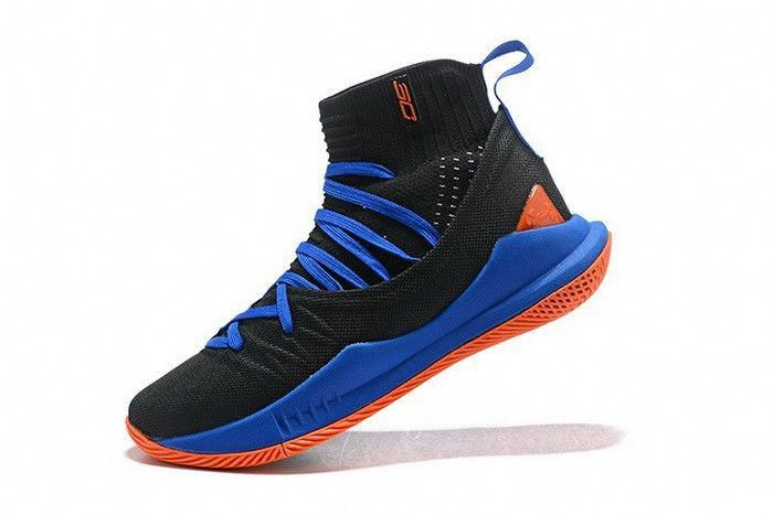 a3bee111ee9 Under Armour Curry 5 High Top Black Blue Orange Mens Basketball Shoes   adidasbasketballshoes