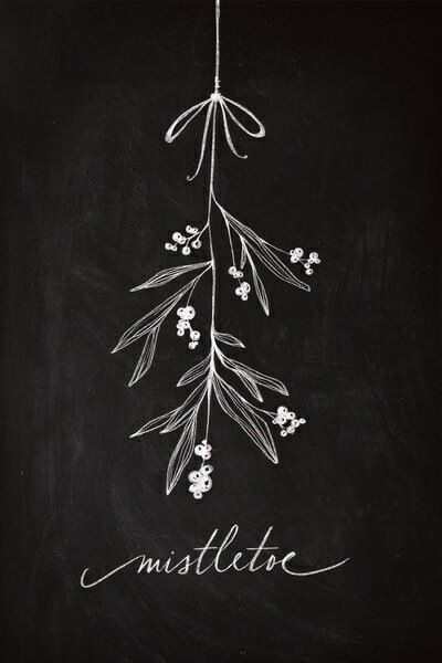 Christmas chalkboard art. Mistletoe art.