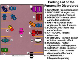One way to visualise the differences between different personality disorders - Parking Lot of the Personality Disordered