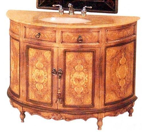 Fermaine Hand Painted Demilune Vanity Sink Cabinet 48 Inch