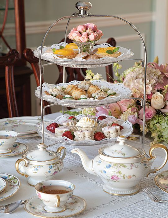 "Use the correct term for the tea you are hosting. High tea is not a fancy tea, as many people assume. Delectable scones, tea sandwiches, and cakes are the hallmark of an afternoon tea, which is served in midafternoon. A high tea, however, includes much more substantive fare, such as meat, fish, and egg dishes, as well as breads and desserts, and is offered in the early evening. Think of it as a light supper served with tea. fternoon tea, also known as ""low tea,"" is most often taken at a low"