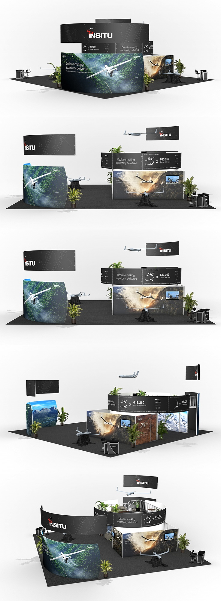 Creative Point of purchase displays and exhibition booths for trade-shows created by TriadCreativeGroup.com inspired by artistic design and architecture.