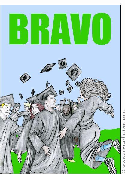 Carte Bravo les diplomés pour envoyer par La Poste, sur Merci-Facteur !