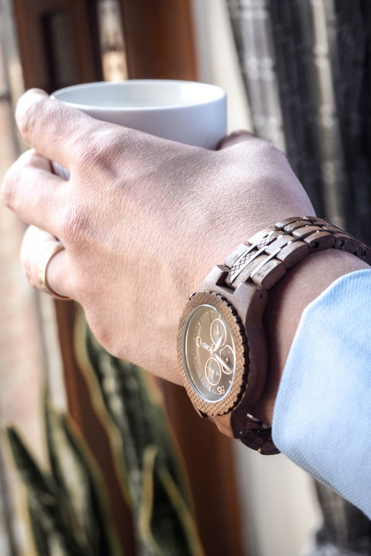Man In Blue Shirt Wearing JORD Wooden Conway Watch Holding Coffee