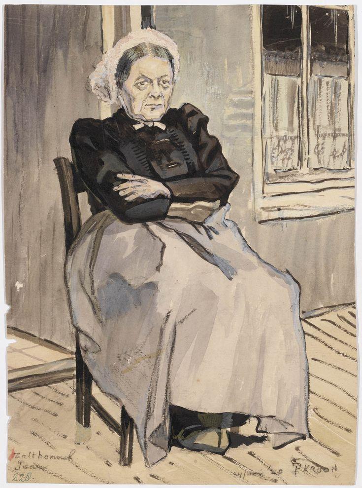 'Jaan' uit de vogelenkoog; tekening van zittende vrouw in opknapdracht. Zaltbommel Jaan 1920 kunstenaar: Kroon, Patricq Heleen Joan #Gelderland #Betuwe #Saksen