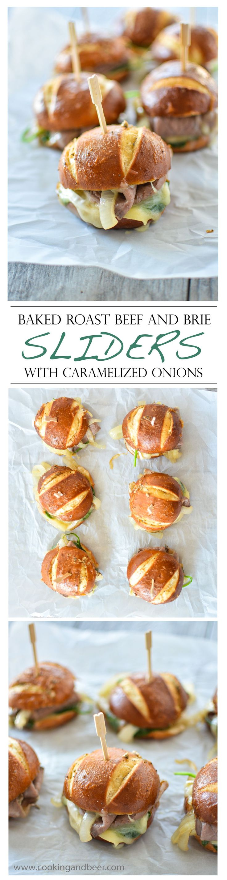 Baked Roast Beef and Brie Sliders with Caramelized Onions...the perfect pairing for the big game!