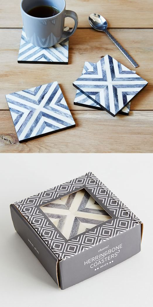 These coasters feature hand-inlaid bone tiles set in a bold herringbone pattern. No matter the occasion, they add a touch of sophistication to tabletops.