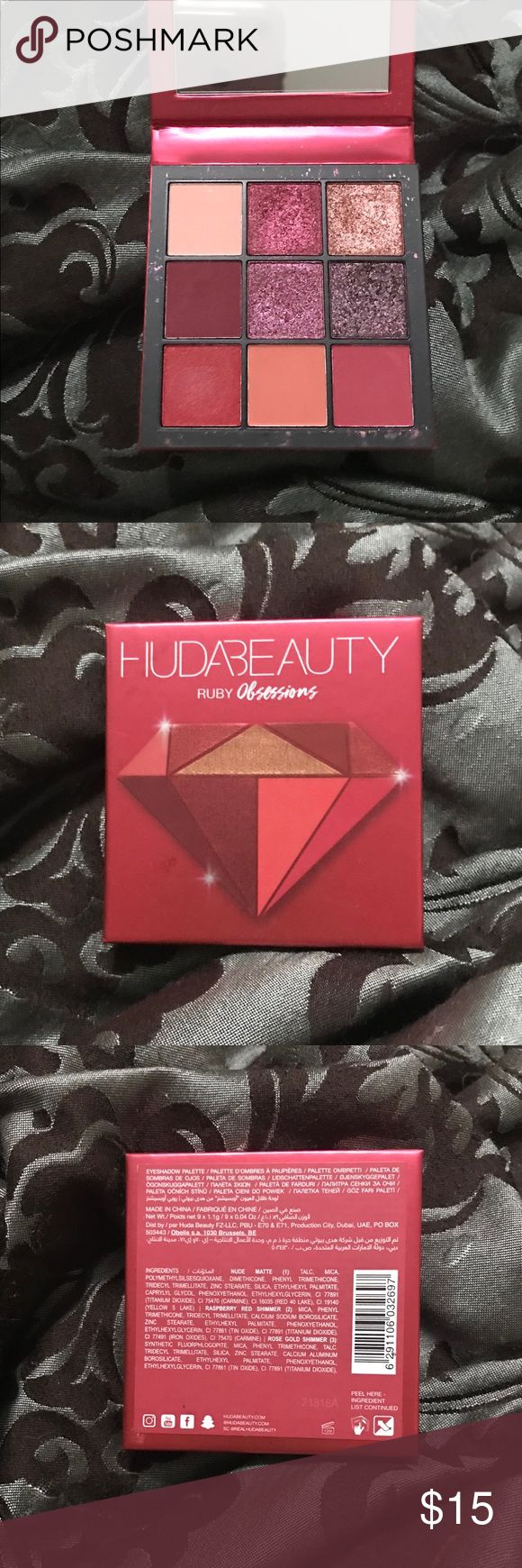 Huda Magnificence Ruby Obsessions Eyeshadow Palette Frivolously swatched with clear brush….