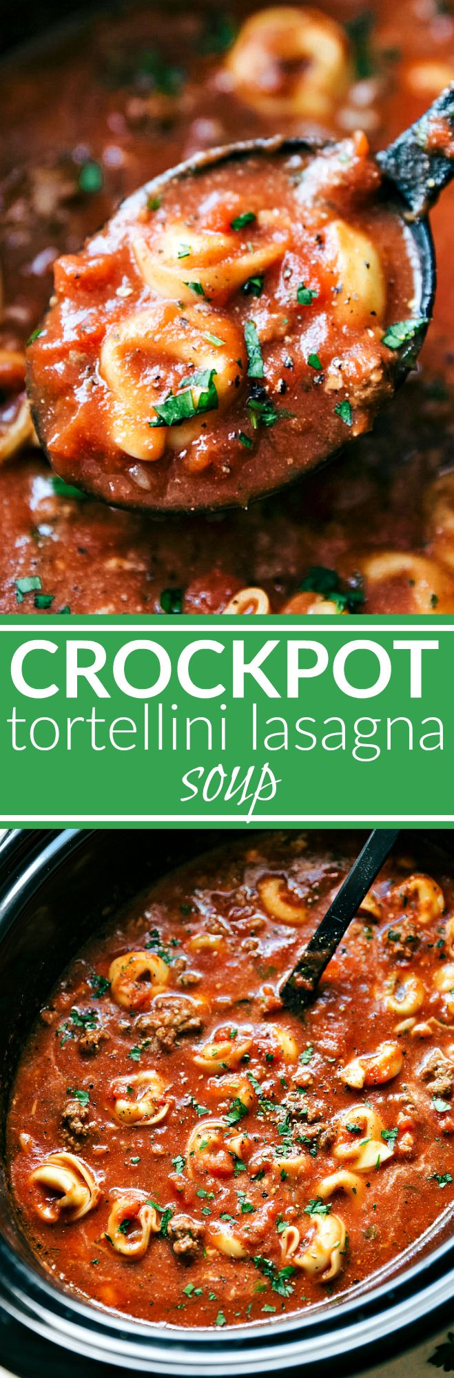 SLOW COOKER TORTELLINI LASAGNA! A crockpot lasagna soup made with cheese-filled tortellini. This soup is simple to make, tastes just like lasagna in soup form, and is a sure crowd pleaser! via chelseasmessyapron.com