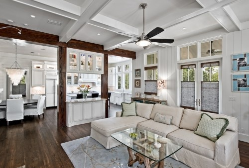 Love how it's open to the kitchen and dining....colors are great....ceilings are fabulous!