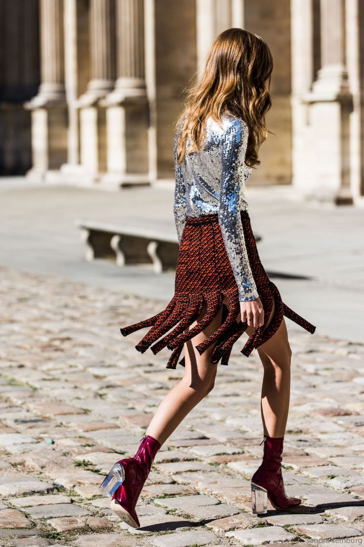 Street Spectator- silver sequins top, 'fringed' skirt, socks and shoes- not your average ordinary street style- fashion- daytime sparkle.