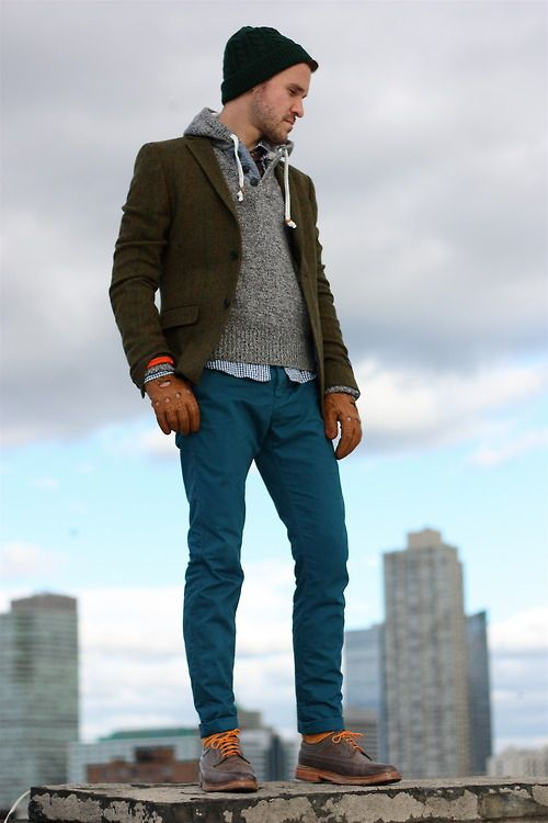 Shop this look for $289:  http://lookastic.com/men/looks/chinos-and-socks-and-desert-boots-and-gloves-and-beanie-and-hoodie-and-longsleeve-shirt-and-blazer/527  — Teal Chinos  — Orange Socks  — Brown Leather Desert Boots  — Brown Leather Gloves  — Dark Green Beanie  — Grey Hoodie  — White and Navy Gingham Longsleeve Shirt  — Olive Plaid Blazer