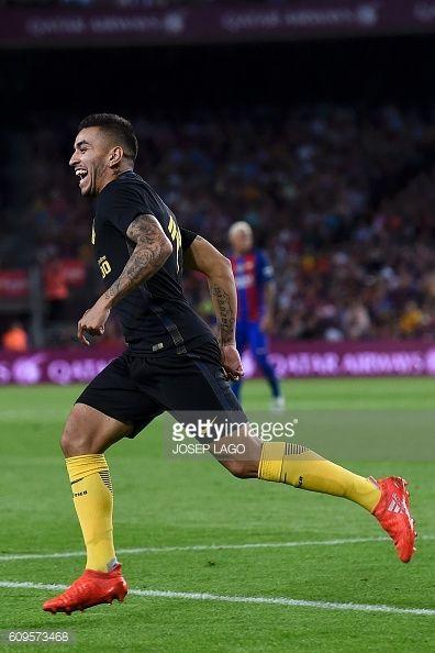 Atletico Madrid's Argentinian forward Angel Correa celebrates his goal during…