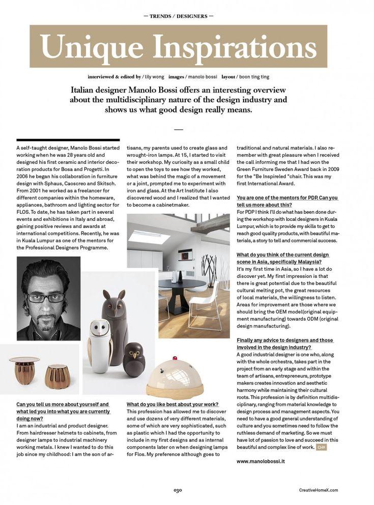 Creative Home / interview/ Malaysian Press  November 2015 - Uniques Inspirations - Manolo Bossi #designer @ PDP