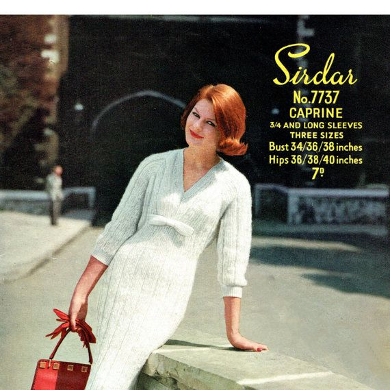 PDF Vintage 1950s Womens Ladies Dress Knitting Pattern Jessica