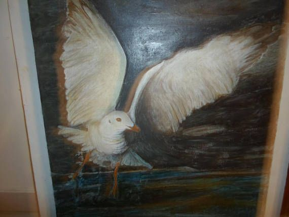 Vintage oil on linen on board painting  flying seagull 1960