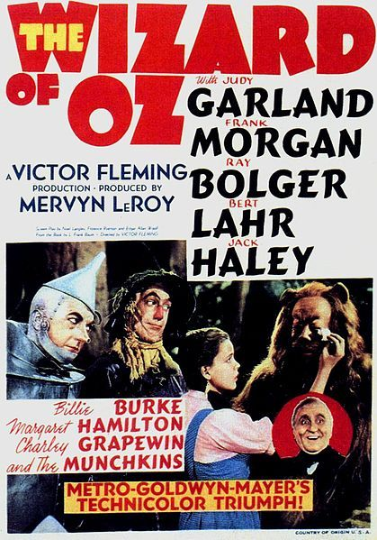 """The Wizard of Oz"" 1939 Classic movie poster - with Judy Garland"