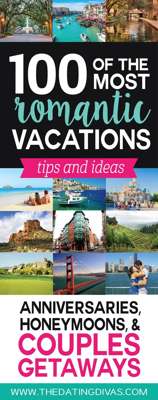 Love it!  This is seriously the ULTIMATE list of romantic vacation ideas for couples! OVER 100 ideas and tips for the perfect the perfect romantic anniversary trip, honeymoon, or couples getaway! Pinning for later! http://www.TheDatingDivas.com