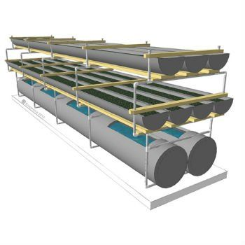 Biogarden 3 Level Dual 20' Seven (7) grow beds and two (2) twenty (20) foot tanks for optimal space use.