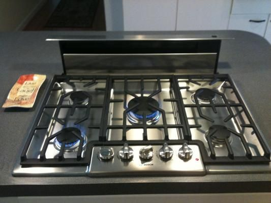 gas stove top with pop up vent  Google Search  MCM project  Kitchens  Kitchen island with