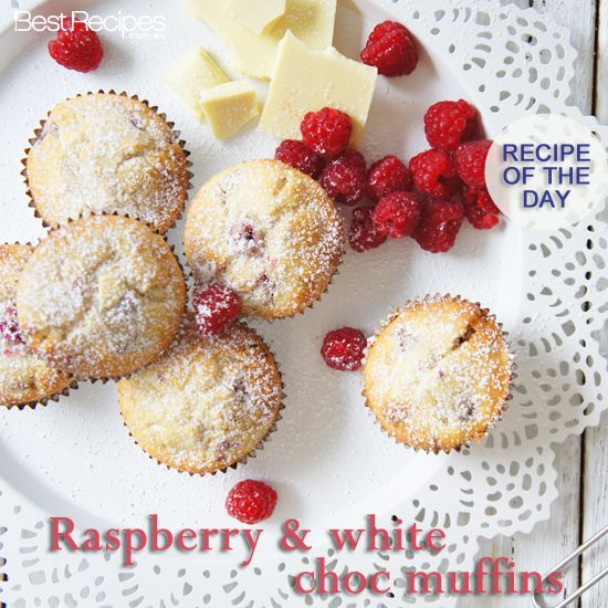 Raspberry & white chocolate muffins - need we say more?  #dessert #afternoontea #raspberry #whitecholate #recipe