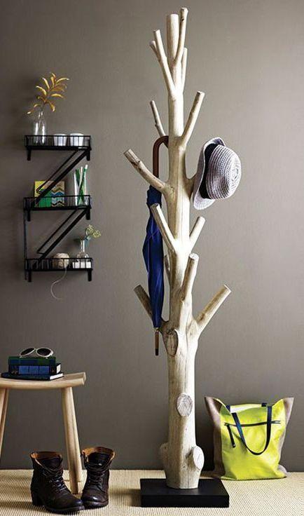 Diy Tree Coat Rack.   15 Coatrack DIYs for a Light and Airy Scandinavian Style Home  www.toovia.com... https://www.toovia.comdo-it-yourself/15-coatrack-diys-for-a-light-and-airy-scandinavian-style-home?utm_content=buffer3e792&utm_medium=social&utm_source=pinterest.com&utm_campaign=buffer