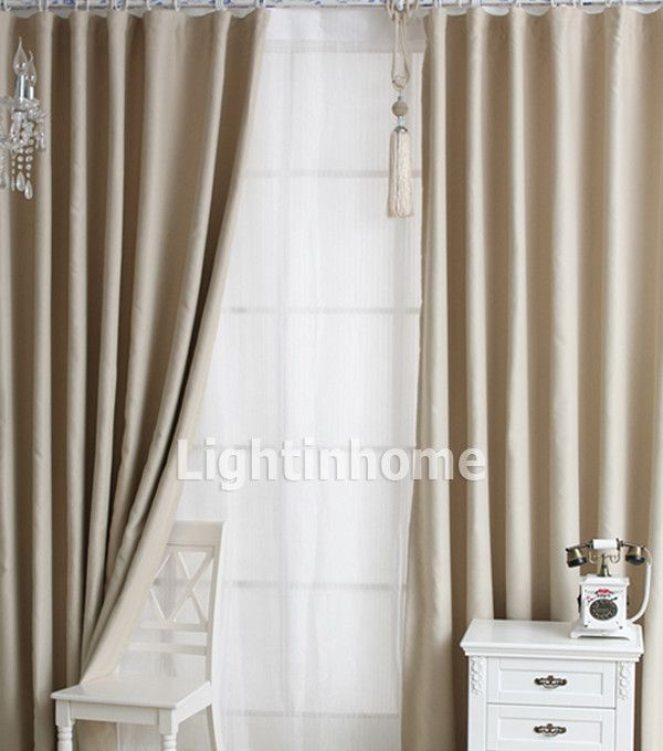Stylish Solid Sound Absorption Beige Blackout Curtains Lightinhome Curtains Pinterest