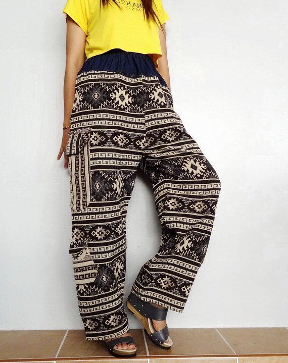 Harem Cargo Pockets pant,Unisex Trouser, Tribal Woven fabric (pants-W8). by Brightfashion on Etsy