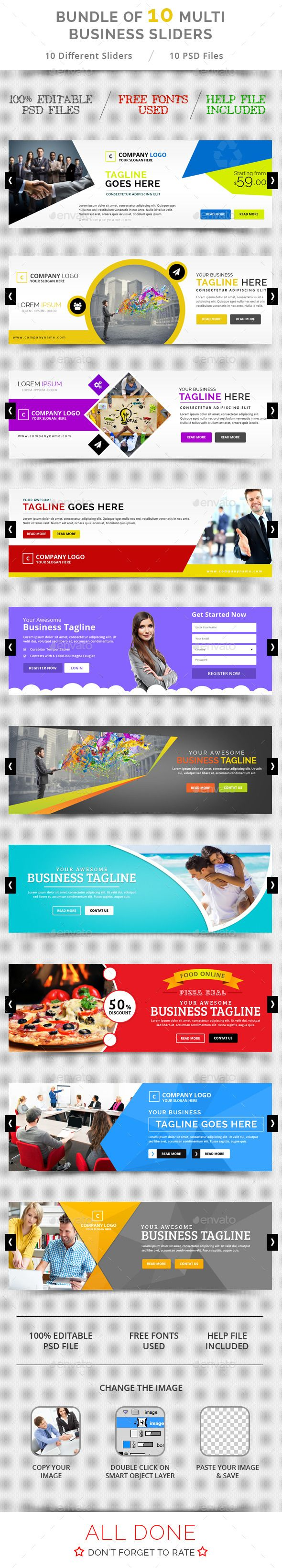 Bundle of 10 Multi Business Sliders Templates PSD. Download here: http://graphicriver.net/item/bundle-of-10-multi-business-sliders/11243569?ref=ksioks