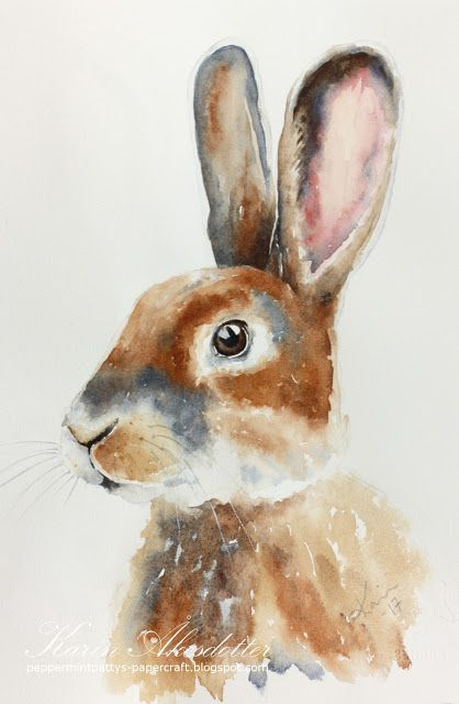 Sunday Watercolors: Rabbit  For more info: I share my creative projects here: https://www.instagram.com/peppermintpatty42/and on my blog:http://peppermintpattys-papercraft.blogspot.seand on pinterest; https://www.pinterest.se/peppermint42/my-watercolors/ #watercolor #rabbit