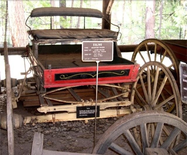 Egling  Mountain Wagon. Built by Louis Egling, Chinese Camp, California. Used by Pat Kelly, Sonora to Milton, California. Gift of Howard Egling. Pat Kelley made many trips between the towns of Sonora and Milton in this wagon. This one was built in the Egling Shop at Chinese Camp.