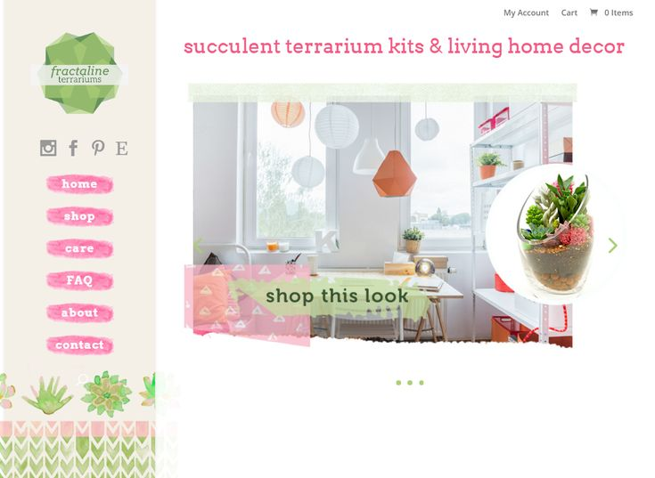 Bright, cheery ecommerce website that I created for succulent terrariums and home decor | #wordpress #website #ecommerce