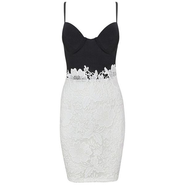 Honey couture black bustier w white lace dress (£120) ❤ liked on Polyvore featuring dresses, white cocktail dresses, white lace dress, sexy lace cocktail dress, lace bustier and white lace bustier