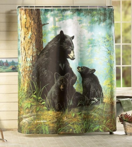 Northwoods Bear Shower Curtain Bathroom Wildlife Bath Decor Lodge Fabric New