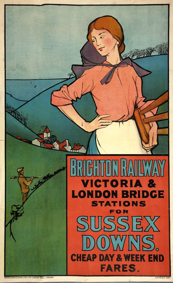 Vintage poster advertising Brighton Railway, Victoria London Bridge Stations for Sussex Downs, cheap day week end fares