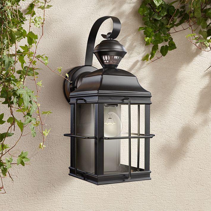 Crista 14 3 4 High Black Motion Sensor Outdoor Wall Light 35p29 Lamps Plus Outdoor Wall Lighting Outdoor Walls Craftsman Outdoor Lighting