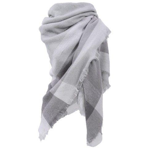 Vierkante sjaal met ruit in grijs en wit