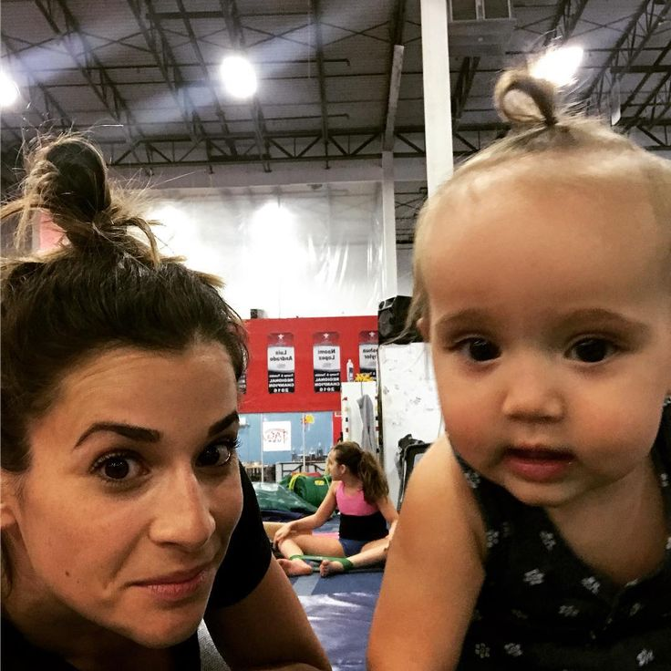 American olympic gymnast Alicia Sacramone has a daughter Sloan Scott Sacrameno and she cannot het away from her: takes her to work.