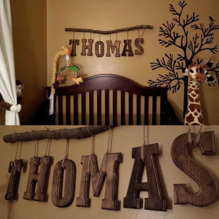 Safari theme Nursery room for our little man.  DIY name. #nursery #DIY