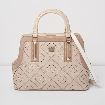 blush pink diamond laser cut tote bag by River Island. Diamond laser cut print Gold tone frame Structured tote design Grab handles and shoulder strap Magnetic clasp fasteni...