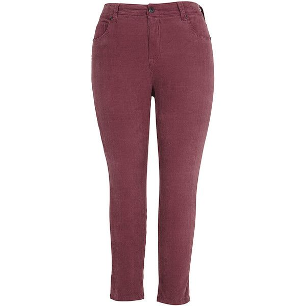 Melissa McCarthy Twilight Mauve Corduroy Skinny Jeans ($60) ❤ liked on Polyvore featuring plus size women's fashion, plus size clothing and plus size jeans