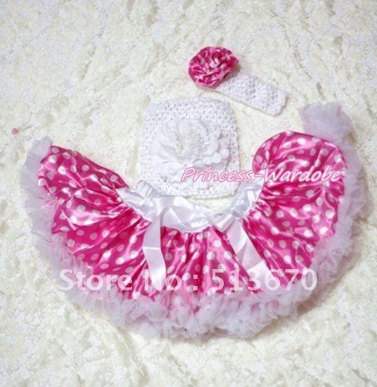 Ярко розовый горошек юбка, Белый пион белый вязание верхней части пробки, Белый повязка на голову ярко розовый роза 3 шт. комплект MACT190