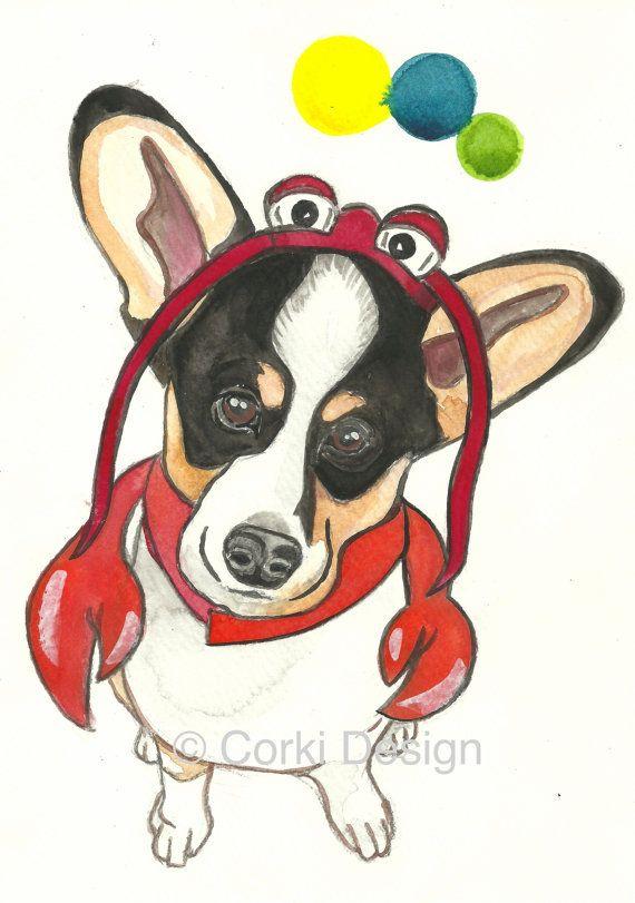 Corgi Lobster  Pembroke Welsh Corgi dog dress up by CorkiDesign, $24.00