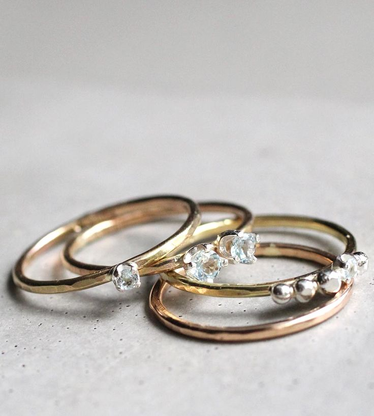 Tiny Stacks Gemstone Ring Set by Elaine B Jewelry on Scoutmob