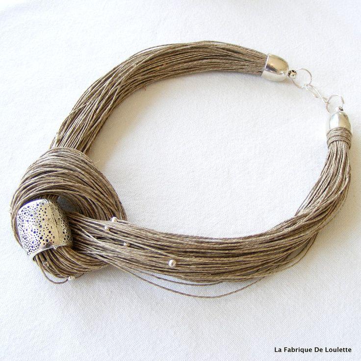 Collier lin naturel,collier lin et perle argent,collier textile,collier multi-rang lin,collier été plage,collier plage robe été de la boutique LaFabriqueDeLoulette sur Etsy