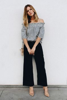 summer outfit, summer work outfit, summer office outfit, office style, summer trends 2016, night out outfit, day to night outfit - stripe off the shoulder top, black culottes, camel suede heels, blush shoulder bag