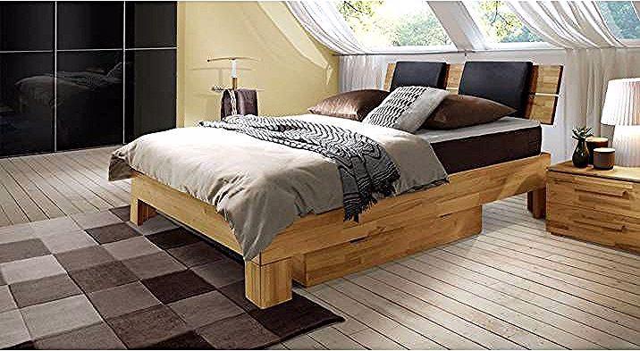 Luxusbett Holz Port Louis 140x220 Cm Buche Nussbaumfarben H3