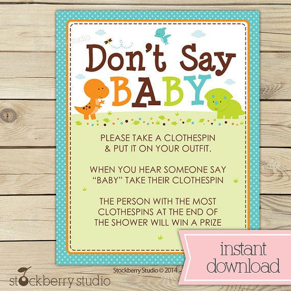 Dinosaur Baby Shower Don't Say Baby Game Printable - Dinosaurs Boy Baby Shower…