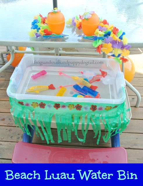 Beach Luau Water Bin Sensory Play For Kids