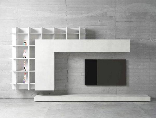 Wohnwand weiß minimalistisch tv